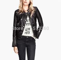 New fashion lady stylish autumn classical black PU leather jacket coat female slim zipper long sleeve commuting outwear