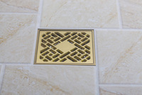 "A-pak Square Drrains Faucet Accessories 4"" Antique Brass Finish Solid Brass Floor Drain 5404/28"
