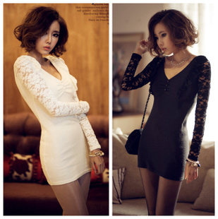 2014 New European Style Mini Lace Casual ladies Black Dress White Long Sleeve Autumn Sheath Women's Dress Specials(China (Mainland))