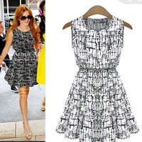 new fashion brand dress 2014 women's large size printing Slim vest cotton dress plus size dresses 2 color 13019