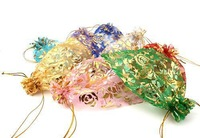 100pcs/lot Wholesale 10x12cm 8 colors Organza Pouches Gift Bags Gold Heart Patterns Fit Wedding and Festival Party