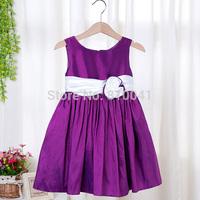 Elegant Noble Purple Party Dress With Whtie Belt Kids Princess Ball Gown Girls Wedding Birthday Candy Wear