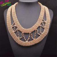 2014 Women Hotsale New za Vintage Necklace Double Mental Punk Luxury Statement Crystal Clain Women Shourouk jewelry  9316