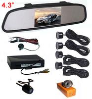 """Super Thin 4.3"""" TFT LCD Car Rear View Mirror Monitor Display Backup Camera Video Parking Sensor 4 Sensors"""