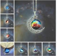 Classic Hot Women Fashion Galactic Glass Cabochon Pendant Silver-Tone Crescent Moon Necklace