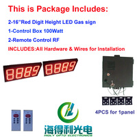Hidly  hot sell 16 inch 2pcs red  8888  digital / gas/oil/fuel/petrol/ price sign/board/changer/display/station with RF remoter