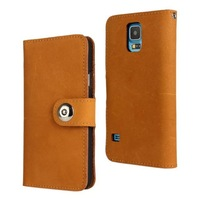 For Samsung Galaxy S5 i9600 yellow head layer leather wallet Frosted feel mobile phone case