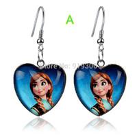 Hot New Fashion Frozen Anna Elsa Children Girls Cartoon Peach Heart Earrings Jewelry Charm Kids Party Princess Earrings F85