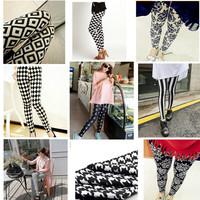 9styles women fashion print winter autum leggins geometric/plaid/patchwork/stripe/flower print leggins fashion leggins female
