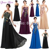 Grace Karin A-line Strapless Chiffon Peacock Print Ball Evening Gowns Prom Wedding Party Long Formal Dress Robe De Soiree J6168