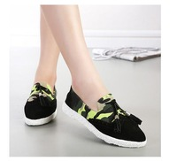 883-5 Vintage Camouflage Flats Tassel Patchwork Casual Shoes  Loafers Shoes Women Shoes