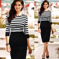 Europe station Fashion style Women Striped Empire Knee-length O-Neck optical illusion Slim Party Pencil Dress Plus Size S-XXL