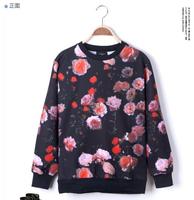 LJ1438M Flower Floral Print 3d Digital Men Women Printed Personalized Long Sleeve Pullover Sweater Sweatshirts Plus Size