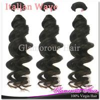 6a Unprocessed Virgin Hair 3pcs Italian Wave Hair Remy Human Hair Extensions Natural Black Hair
