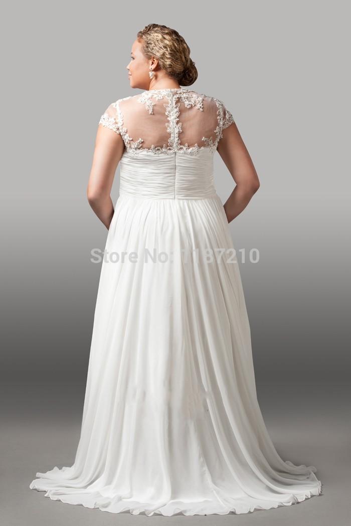 USD 3 000 Wedding Dresses : Back illusion short sleeves plus size wedding dress bridal gowns g