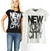 Brand New Women T shirt NEW YORK Letter Top Cotton T-shirt European Style Summer Casual Women's Clothes LT016
