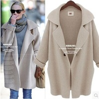 2014 Autumn Winter Women Europe Solid Knitted Cardigans Sweater Women's Mid-Long Batwing Sleeve Loose Outerwear