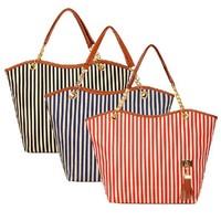 new chain striped Canvas Shoulder Bag Handbag