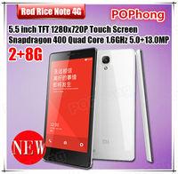 """Xiaomi Redmi hongmi note 4G LTE Phone Red Rice Note Snapdragon 400 Quad Core 5.5""""HD 2G RAM 8GB ROM 13.0MP"""