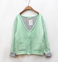 free drop shipping 2014 new Korean women winter sweater Mint Green  Cardigan sweater coat