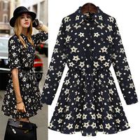 new women European dress 2014 fashion autumn elegant casual star print long sleeve slim mini pleated dresses plus size S-XXL