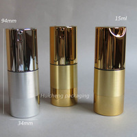 Free shipping - High Quality  15ml Aluminum Airless Pump Bottle, 1/2OZ Airless Container ,15CC Lotion Airless Bottle