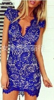 Free shipping 2014 Fashion women's new style lace v neck dress sexy back hollow out party dress ladies one piece dress