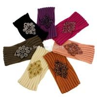 Infinity Beaded Flower Jewel Knit Headband Hairband Winter HeadWrap