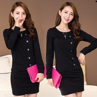 new women sexy dress 2014 fashion autumn casual elegant work wear solid buttons long sleeve slim skinny pencil mini dresses M-XL