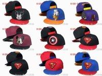 One cap free shipping 2014 hot kid snapbacks cartoon hats superman batman hello kitty baseball snapback hats basketball team hat