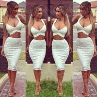 014 years of white lace two piece set ladies dress hot models bandage dress mini bodycon dress frozen dress elsa dress