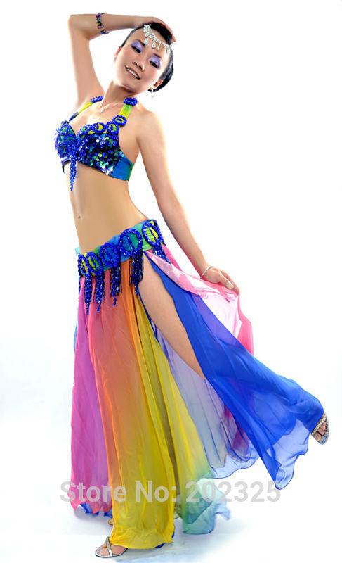 New design High quality top grade multi-color belly dance costume suit performance/practice: Bra & belt & skirt -Aurora(China (Mainland))