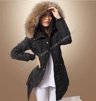 2014 Winter Coat  Raccoon heavy hair down jacket New Winter Women European And America Hooded down jacket in a long dress