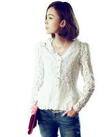 Thin Shoulder Pads Hollow Lace Cardigan Jacket Stitching Lace Chiffon Shirt Women Shirt Blouse Wholesales Free Shipping
