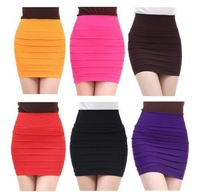 Free Shipping New Fashion Summer Women Skirts High Waist Candy Color Elastic Bodycon Stretch Ribbed Pleated Short Skirt Saia