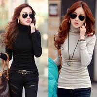 women elegant t shirts 2014 new fashion autumn winter casual solid turtleneck long sleeve slim cotton shirt tops plus size S-XXL