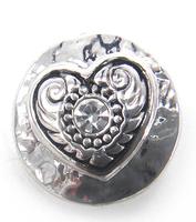 Free shipping Mini 1.2cm Heart white crystal charm DIY snap button metal charms