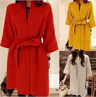 Wool Blended Winter Coat Three Quarter Sleeve Women Loose Thick Long Warm Coats Casaco Feminino With Sashes Free Shipping B1222