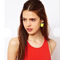 Free Shipping Korean version of the atmospheric square earrings earrings oil painting square drop earrings