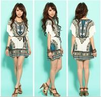 2014 Hot Sale Empire Dobby Above Knee, Mini A-line O-neck Party Dresses Summer New Korean Pagoda Flower Bat Sleeve Waist Dress