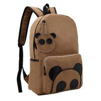 Women bag men backpacks wholesale print suede panda schoolbag students college wind tide Korean casual backpack
