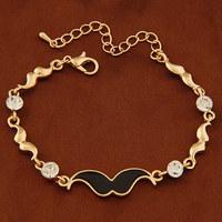 Min. Order $8.8(Mix Order) Hot 2014 New Gold Silver Lady Crystal Bracelet Beard Women Fashion Bracelet FB0008