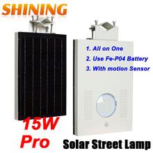 New Designed Integrated All In One 25W Solar Panel Street/Garden Lamp Light, 15W LED Induction Road Lighting Lamp + PIR Sensor(China (Mainland))