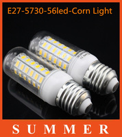 1Pc Lowest Price E27 SMD 5730 220V Led lights 56LEDs Max 18W Corn Bulbs lamps Energy Efficient Lighting