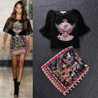 Free shipping 2014 spring and summer runway Fashion women's short sleeve abstract printed top +print skirt casual clothing sets