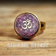Yoga Jewelry Om Ring Purple Lotus Flower, Om Symbol, Buddhism, Zen Art Ring ,adjustable ring for women(China (Mainland))