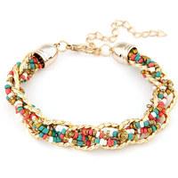 Min. Order $8.8(Mix Order) NEW ARRIVAL Gold Metal Chain Beaded Bracelet Fashion Lady Bracelet FB0006