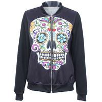 2014 Autumn New Women Harajuku Sugar Flower Skull Digital print Casual Bomber Jacket fashion Baseball Coat Outerwear S-J021