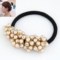 2014 new fashion sweet ball bud tiara pearl hair rope hair accessories