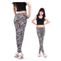 Hot Sale 2014 Zebra striped print spandex leggings women High Stretched Yoga sports legging pants fitness leggins Freeshipping